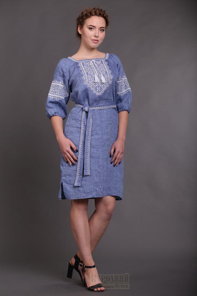 Платье с вышивкой лен джис