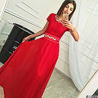 Элегантное женское платье в пол, с шифоновой юбкой (есть подкладка из атласа). Красный цвет