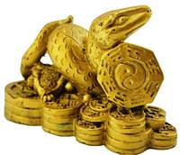 Статуэтка змея с монетами 100х60х40