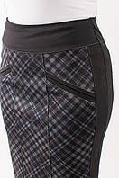 Женская трикотажная юбка в бордовую клетку Берта