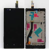 Модуль Nokia 720 Lumia: дисплей + тачскрин (сенсор), с рамкой, цвет черный