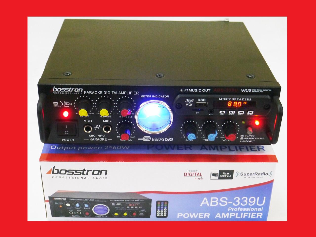 Усилитель звука Bosstron ABS-339U + USB + Fm + Mp3 + КАРАОКЕ