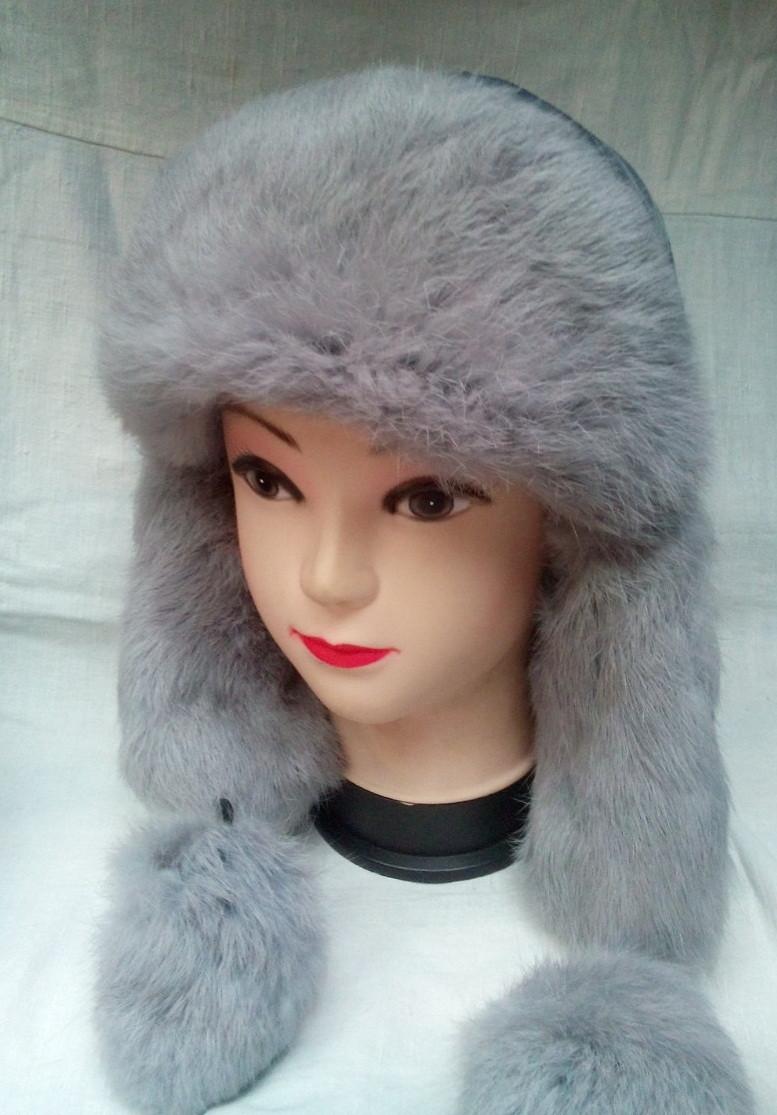 Меховая женская шапка ушанка серая