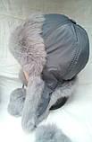 Меховая женская шапка ушанка серая, фото 2