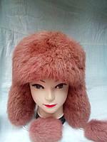 Женская шапка ушанка из натурального меха