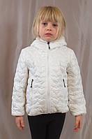 """Красивая, качественная стеганая куртка для девочки """"Сердца"""" (Белый)."""