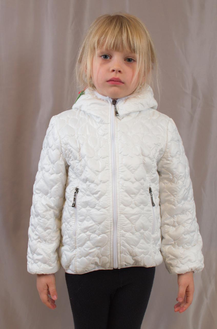 """Красивая, качественная стеганая куртка для девочки """"Сердца"""" (Белый). - Exclusive в Хмельницком"""