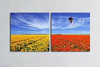 """Модульная картина """"Воздушный шар над полями"""""""