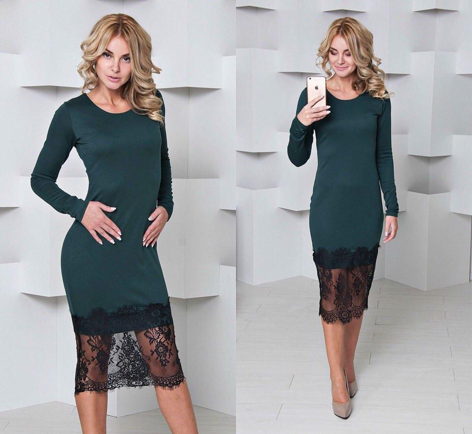 Элегантное женское трикотажное платье по низу с кружевом, зеленое ... 170bded29a2
