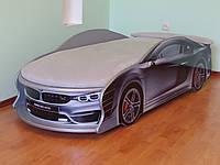 Кровать машина BMW серебро, матрас светло-серый