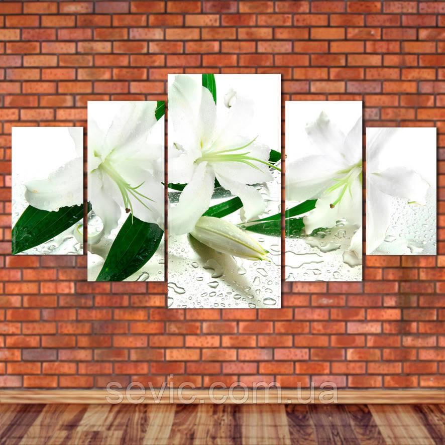 """Модульная картина """"Белые лилии"""""""