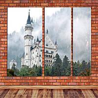 """Модульная картина """"Замок в ущелье, Германия"""""""