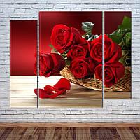 """Модульная картина """"Букет красных роз"""""""