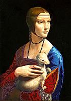 "Схема для вышивки бисером на атласе (картина) ""Дама с горностаем"". Художник Леонардо да Винчи"