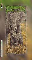 Схема для вышивки бисером на подрамнике Слоны