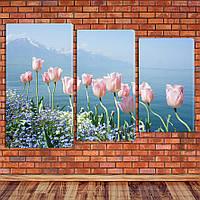 """Модульная картина """"Тюльпаны у воды"""""""