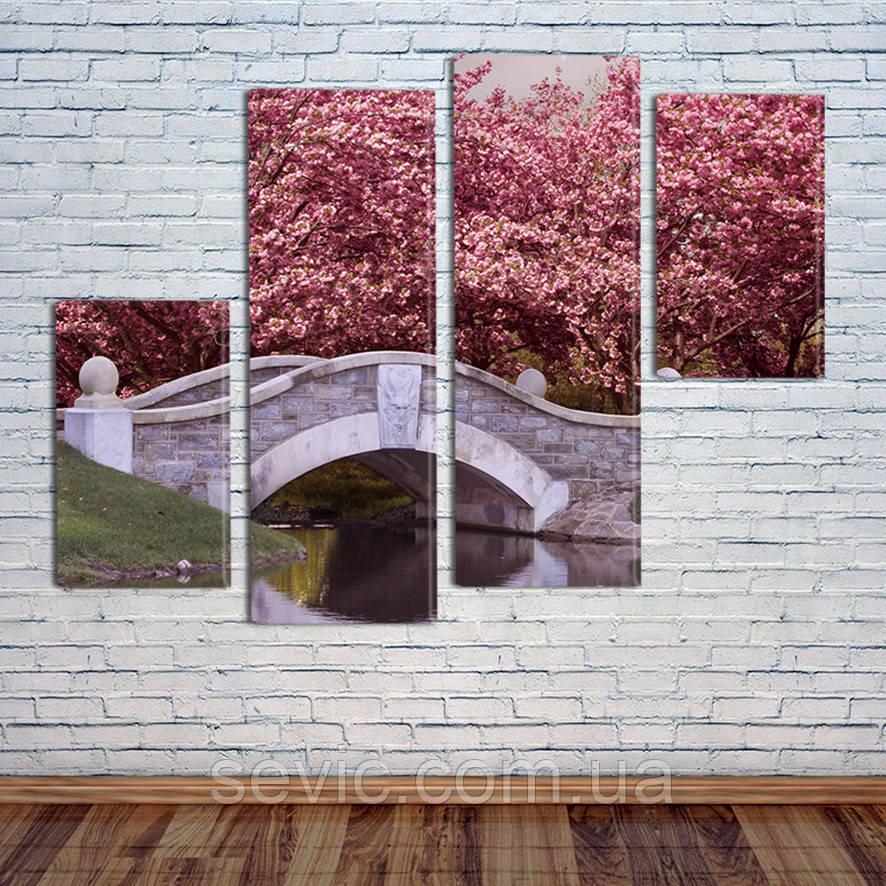 """Модульная картина """"Япония, цветение сакуры"""""""