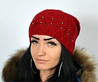 """Шапки женские. Вязаная шапка """"Корал"""" красный. Женский головной убор."""