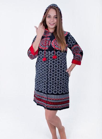 Велюровый женский халат Круги