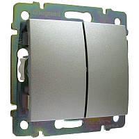Выключатель 2-клавишный, алюминий - Legrand Valena   (Код: 770105 )