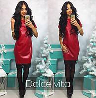Женское красивое платье ткань эко-кожа с кружевом красное, фото 1