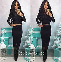 Женский красивый костюм ткань гипюр с подкладом черный
