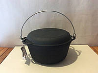 Казан чугунный 10л с крышкой сковородкой и дужкой, фото 1
