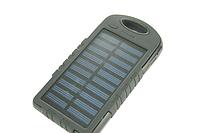 Power Bank (Solar) Переносной аккумулятор на солнечной батарее светодиод (5000 mah) Черный Поштучно