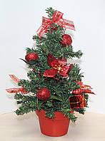 Новогодняя искусственная елочка, высотой 35 см. Красные украшения