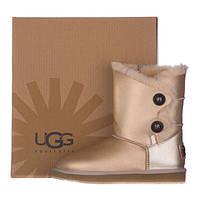 Женские кожаные угги  FD UGG  из овчины золотистые, фото 1