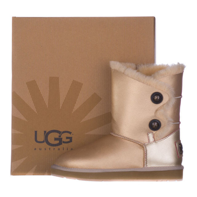 Женские кожаные угги  FD UGG  из овчины золотистые