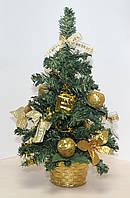 Новогодняя искусственная елочка, высотой 35 см. Золотистые украшения
