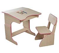 Детская Эко парта растущая розовая и стульчик. F67