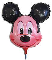 Шарик из фольги на палочке Микки Маус голова 38 х 26 см.
