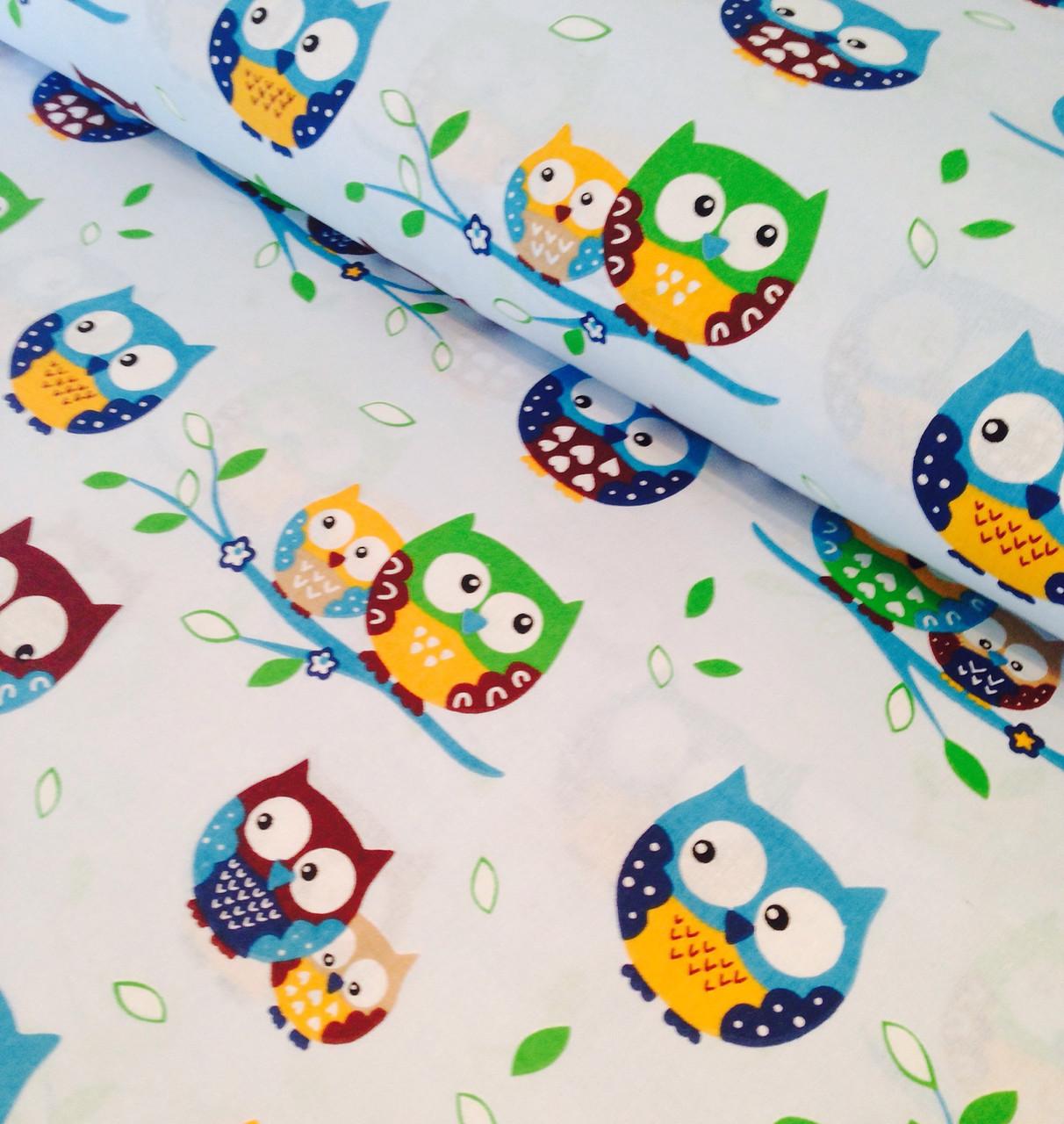 Фланель дитяча польська сови кольорові на блакитному №2