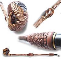Курительная трубка Гусар с кожей фигурный Орел на шаре.