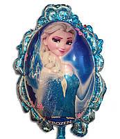 Фольгированный воздушный шарик - зеркало принцесса Эльза 80 х 54 см.