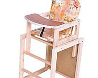 Стульчик для кормления трансформер детский деревянный нейтральной расцветки.