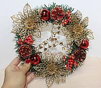 Новогодний декоративный Венок. Красный декор