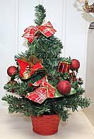 Новогодняя искусственная елочка, высотой 45 см. Красные украшения