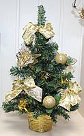 Новогодняя искусственная елочка, высотой 45 см. Золотистые украшения