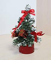 Новогодняя искусственная елочка, высотой 17 см. Красные украшения. В НАЛИЧИИ 1 ШТ