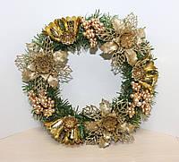 Новогодний декоративный Венок. Золотистый декор