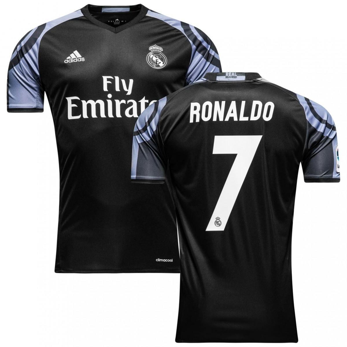 Футбольная форма Реал Мадрид Роналдо (Real Madrid Ronaldo) 2016-2017  Выездная (черная) 246fcb53fa9