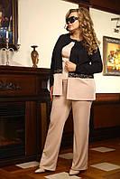 Нарядный женский брючный костюм-тройка больших размеров (рр 48-94), разные цвета