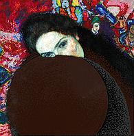 """Схема для вышивки бисером на атласе (картина) """"Дама с муфтой"""". Художник Густав Климт"""