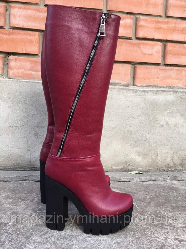 Бордовые зимние кожаные сапоги на каблуке.  продажа, цена в Харькове ... 5c0ac20f195