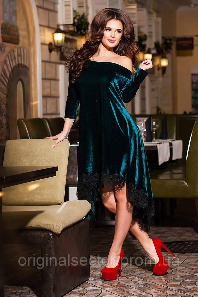 Вечернее платье с кружевным низом