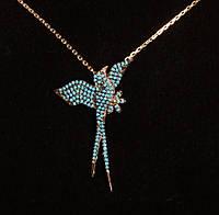"""Колье """"Голубая птица"""" серебро 925 бирюза"""