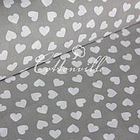 Польская бязь Мелкие сердечки на сером (10 мм)